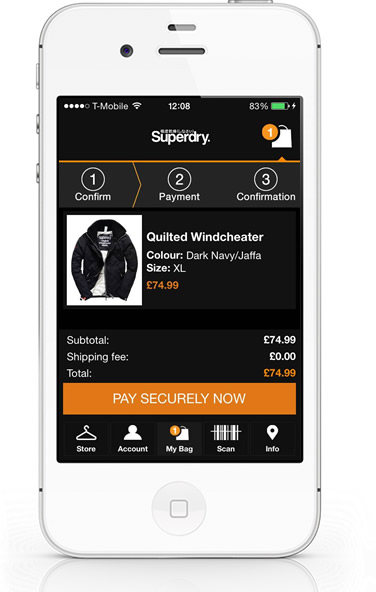 SuperDry iPhone App basket
